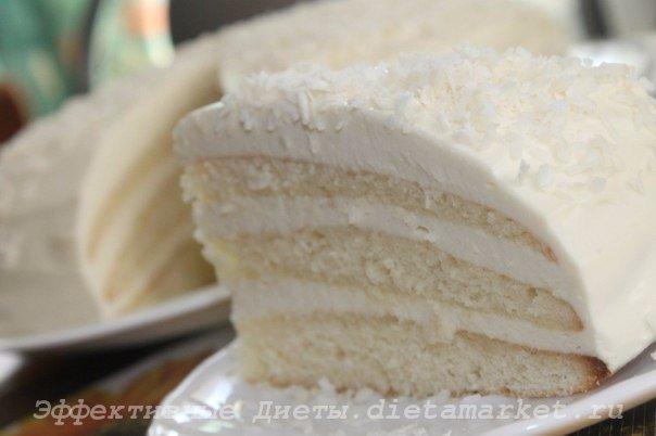 Кокосовый диетический торт